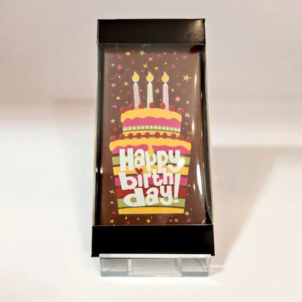 Chocolade cadeaukaart Happy Birthday taart